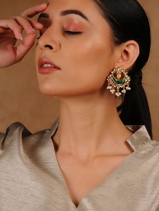 Green Glass Kundan-inspired Gold Tone Silver Earrings
