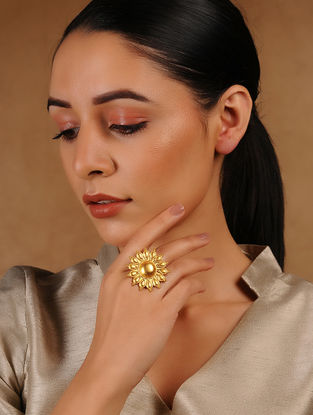 Gold Tone Adjustable Silver Ring