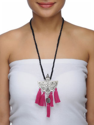 Black Thread Necklace with Floral Motif Pendant and Tassels