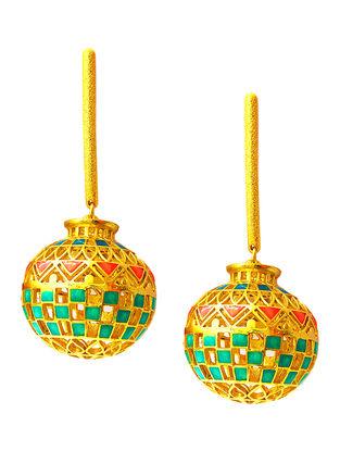 Matka Orange-Green Enameled Gold-plated Brass Earrings