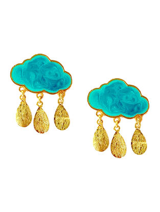 Rain Cloud Turquoise Enameled Gold-plated Brass Earrings