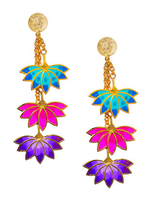 Three Lotus Pink-Turquoise Enameled Gold-plated Brass Earrings