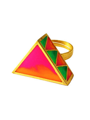 Madhubani Orange-Green Enameled Gold-plated Brass Adjustable Ring
