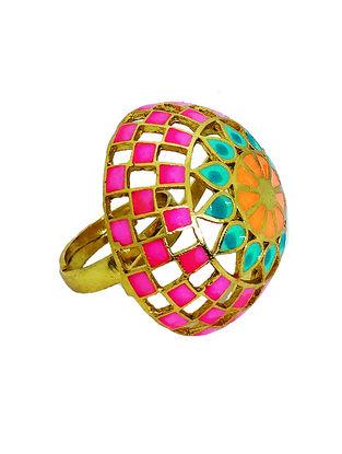 Jali Dome Pink-Orange Enameled Gold-plated Brass Adjustable Ring