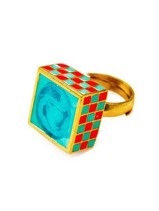 Jali Turquoise-Red Enameled Gold-plated Brass Adjustable Ring