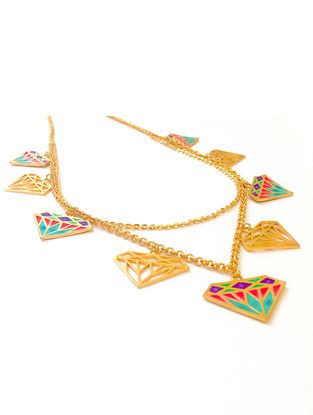 Crazy Diamond Multicolored Enameled Gold-plated Brass Necklace