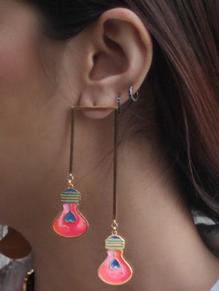 Illuminate Lamp Post Pink-Turquoise Gold-plated Enamel Earrings