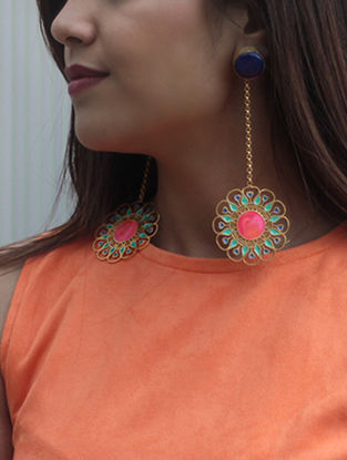 Illuminate Pink-Green Gold-plated Enamel Earrings