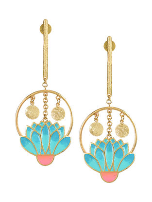 Garden Party Blue-Pink Gold-plated Enamel Earrings