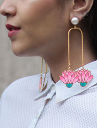 Spring Bloom Pearl Pink-Blue Gold-plated Enamel Earrings