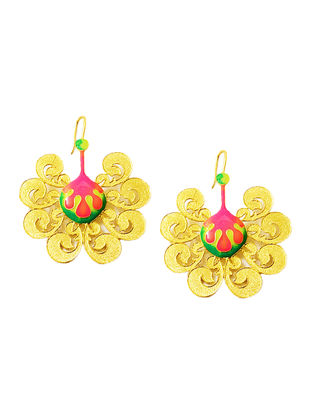 Baroque Pink-Green Gold-plated Enamel Earrings