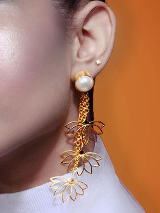 Lotus and Pearl Gold-plated Earrings