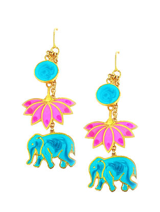 Elephant Lotus Pink-Blue Gold-plated Enamel Earrings