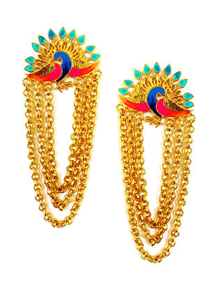 Dance of the Peacock Pink-Blue Gold-plated Enamel Earrings