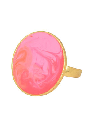 Sunset Hues Pink Gold-plated Enamel Ring