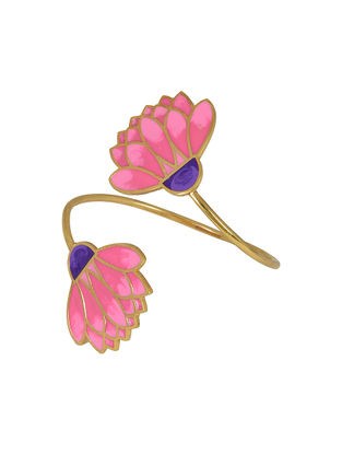 Floral Bloom Pink Gold-plated Adjustable Cuff
