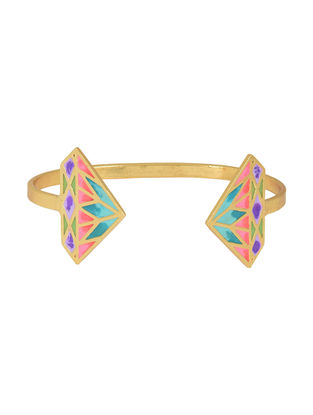 Crazy Diamond Multi-colored Gold-plated Enamel Cuff
