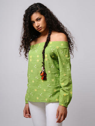 Green-Yellow Bandhani Off-Shoulder Cotton Top with Smocking