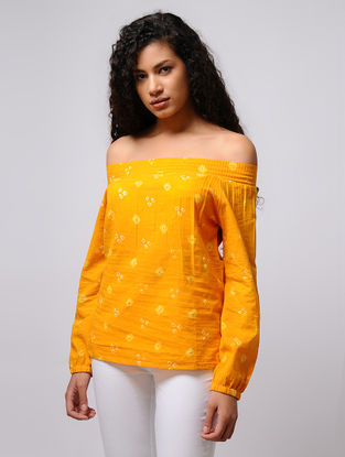 Yellow-Ivory Bandhani Off-Shoulder Cotton Top with Smocking