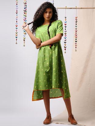 Green-Yellow Bandhani Cotton Dress