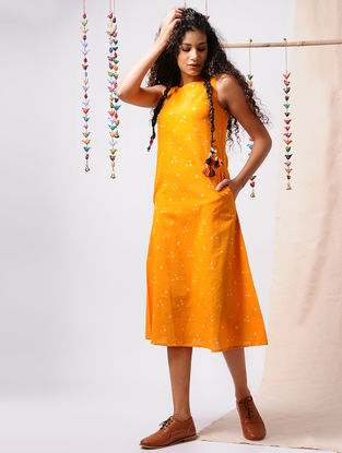 Yellow-Ivory Bandhani Cotton Dress with Pockets