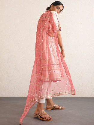 Ivory-Pink Handwoven Cotton-linen Dupatta with Gota and Zari Embroidery