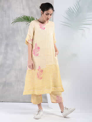Yellow Hand Block-Printed Linen Tunic