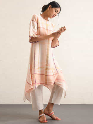Ivory-Pink Handwoven Cotton-linen Tunic with Embroidery and Asymmetrical Hem
