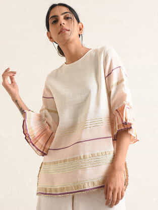 Ivory-Pink Handwoven Cotton-linen Tunic with Gota and Zari Embroidery