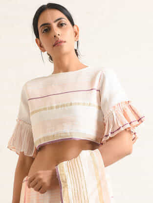 Ivory-Pink Handwoven Cotton-linen Crop Top with Embroidery