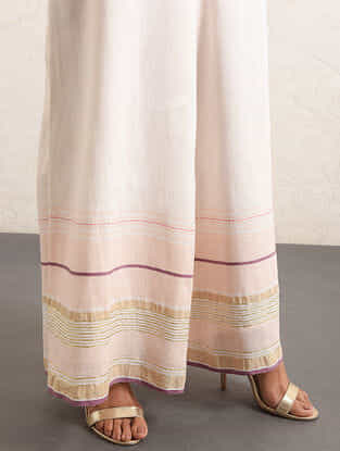 Ivory-Pink Handwoven Cotton-linen Palazzos with Gota and Zari Embroidery