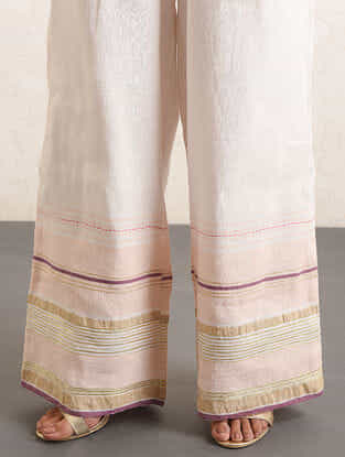 Ivory-Pink Handwoven Cotton-linen Pants with Gota and Zari Embroidery