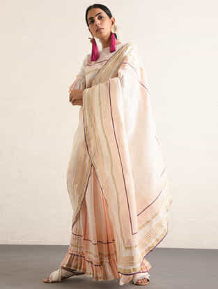 Ivory-Pink Handwoven Cotton-linen Saree with Gota and Zari Embroidery & Gathered Skirt Hem