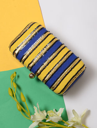 Blue-Yellow Sequin Embellished Cotton Silk Clutch