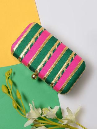 Pink-Green Gotta Embellished Silk Clutch
