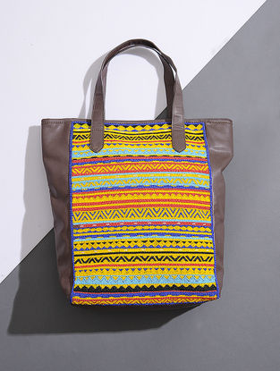 Brown-Yellow Handcrafted Tote with Bead Embellishments