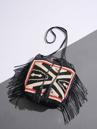Black Handcrafted Leather Sling Bag with Bead Embellishments and Fringes