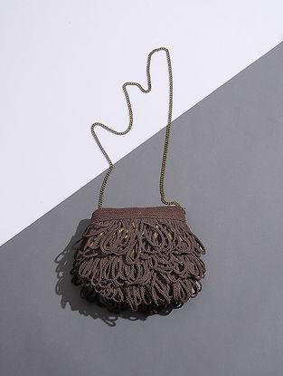 Brown Handcrafted Silk Sling Bag