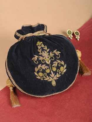 Blue Embroidered Velvet Potli