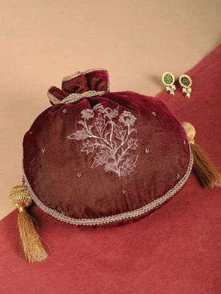 Maroon Embroidered Velvet Potli