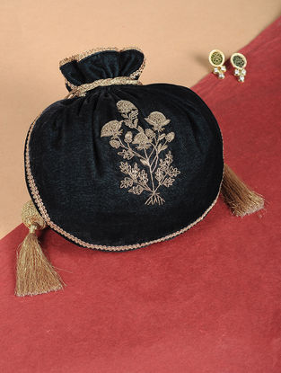 Green Embroidered Velvet Potli