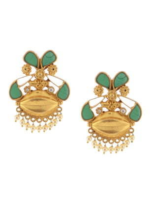 Chalcedony and Pearl Gold Tone Silver Earrings with Floral Design
