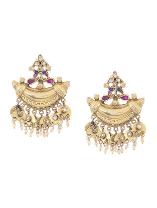 Spinel and Kyanite Gold-plated Silver Earrings with Pearls