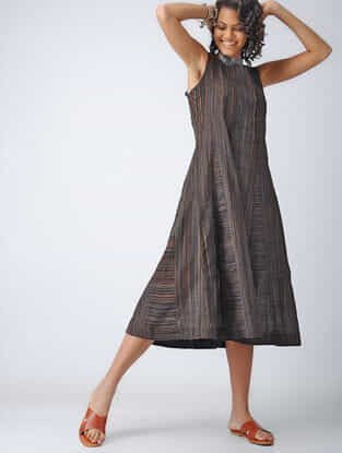 Black-Brown Handloom Cotton Dress
