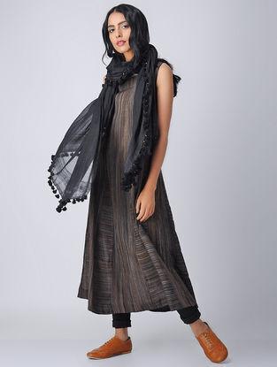 Black-Brown Handloom Cotton Kurta by Jaypore