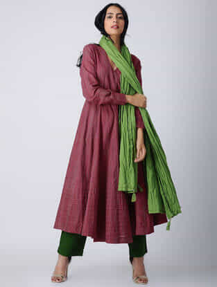 Pink-Green Handloom Cotton Angrakha by Jaypore