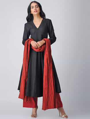 Black Handloom Cotton Angrakha by Jaypore