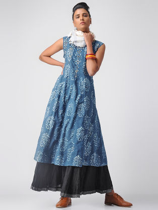 Indigo-Ivory Embroidered Dabu Cotton Kurta by Jaypore
