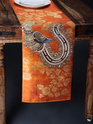 Orange Printed and Embroidered Kalamkari Table Runner (88in x 12.5in)