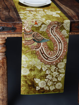 Maroon Printed and Embroidered Kalamkari Table Runner (88in x 12.5in)